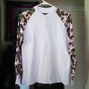 Waffle knit thermal henley pink camo new